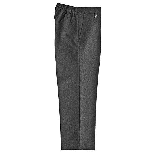 Ozmoint - Pantalones de ajuste estándar para uniforme escolar, talla media, cintura elástica, color negro, gris, azul marino, marrón (3-16 años)