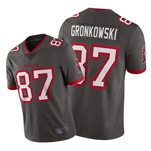 Buccaneers De Hombres Gronkowski Vapor Jersey, Gronkowski 87# Rugby Jersey American Football Shirt, Cómodas Mangas Cortas Pewter-M