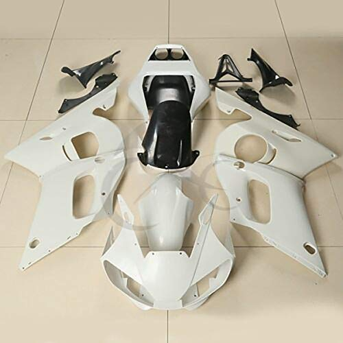 XFMT Motorcycle White Unpainted ABS Plastic Fairing Cowl Bodywork Set Compatible with YAMAHA YZF R6 YZF-R6 1998 1999 2000 2001 2002