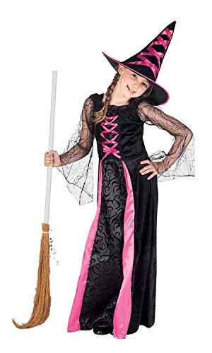 Nerd Clear Hexe Kostüm für Mädchen | 2-teilig: Kleid & Hut | hochwertig & ideal für Karneval, Fasching & Halloween: Größe: 10-12 Jahre