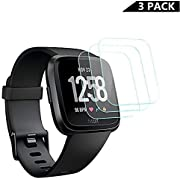 [ 3-Pack ] Fitbit Versa Screen Protector, Runzen Waterproof 9H Tempered Glass Screen Protector for Fitbit Versa Smart Watch [2.5D Round Edge] [9H Hardness] [Crystal Clear] [Anti-Scratch] [No-Bubble]
