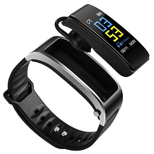 Y3 Smart Armband Fitness Tracker 2 in 1 Smartwatch Ohrhörer mit Blutdruck Pulsmesser Freisprechfunktion Armband Bluetooth Headset Armband Schrittzähler (Grau)