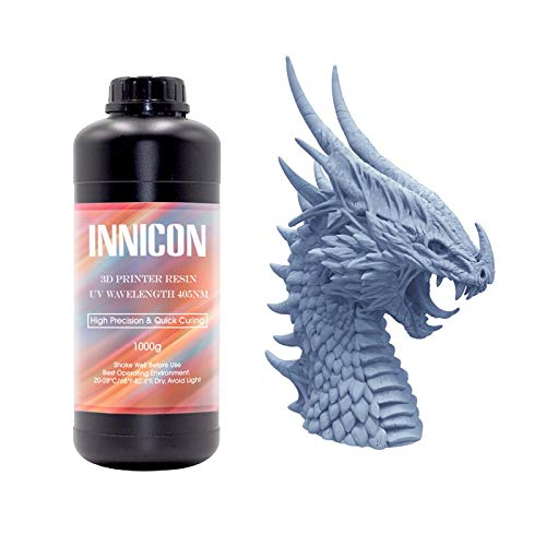 INNICON 3d Printer Resin, 405nm Water Washable Rapid Resin For LCD DLP 3D Printing, High Precision Standard Photopolymer Water Washable UV-Curing Liquid Resin, 1KG Blue Grey