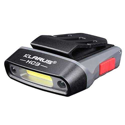 klarus HC3 Gris 100 lumenes | Mini Linterna Frontal LED Manos Libre para Gorra, Alcance MAX 15mts, IPX5, batería Interna de 500mAh con Carga Externa por microUSB para Leer, Pesca, Correr y Camping