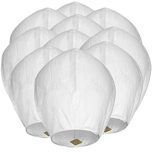Maylai 20 linternas chinas hechas a mano blancas de papel volador, farolillos para cumpleaños, bodas, fiestas, aniversarios, 100% biodegradables (color 1)