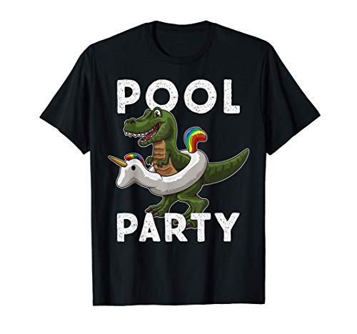 POOL PARTY Dinosaurio con unicornio flotante Camiseta