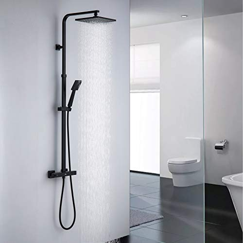 Auralum Schwarz Duschsystem mit Thermostat Mischer, Duscharmatur Duschset mit Regendusche, Handbrause und höhenverstellbar Duschstange, Brausegarnitur Duschsäule für Dusche