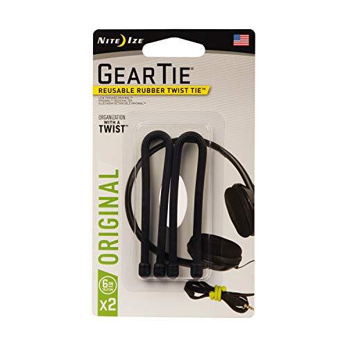 Nite Ize GT6-2PK-01 Original Gear Rubber Twist Tie, 6' - 2-Pack, Black