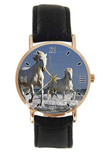 Wild Horses Reloj de Pulsera para Correr, clásico, Unisex, analógico, de Cuarzo, con Caja de Acero Inoxidable, Correa de Cuero