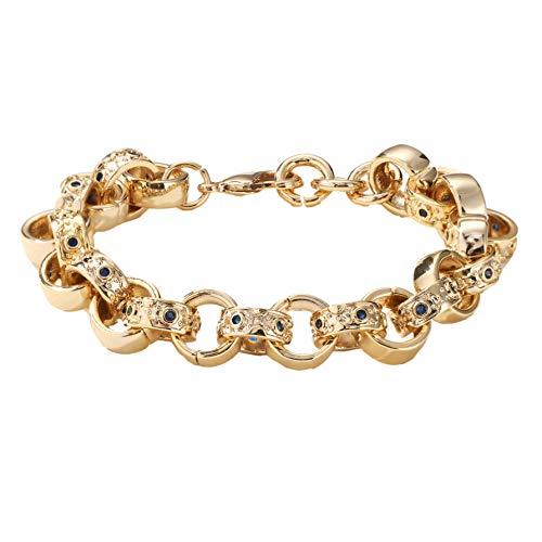 The Bling King 9mm Gold Crystal Pattern Belcher Bracelet For Boys Blue Kids Heavy Real Gold Plating