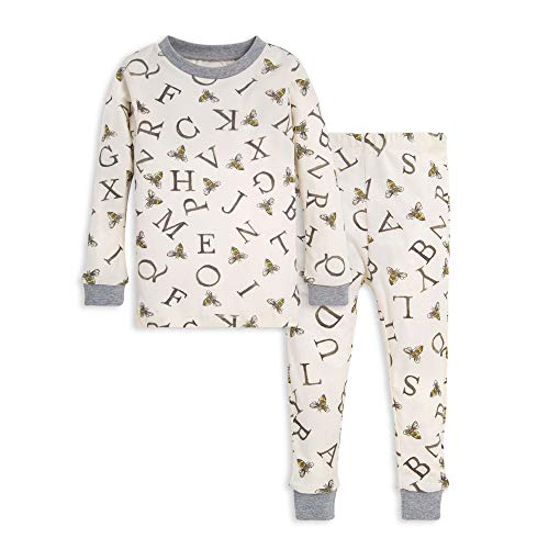 Burt's Bees Baby Baby Boy's Little Kids Pajamas, Tee and Pant 2-Piece PJ Set, 100% Organic Cotton, Eggshell A-Bee-C, 5 Years