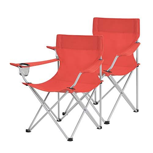 SONGMICS Campingstühle, 2er Set, Klappstühle, Outdoor-Stühle mit Armlehnen und Getränkehalter, stabiles Gestell, bis 120 kg belastbar, rot GCB01RD