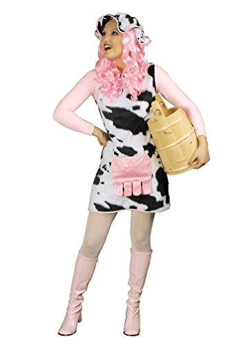 Karneval-Klamotten Kuh-Kostüm Damen Plüsch Küchen Milchkuh ELSA schwarz weiß Tier Erwachsene Damenkostüm