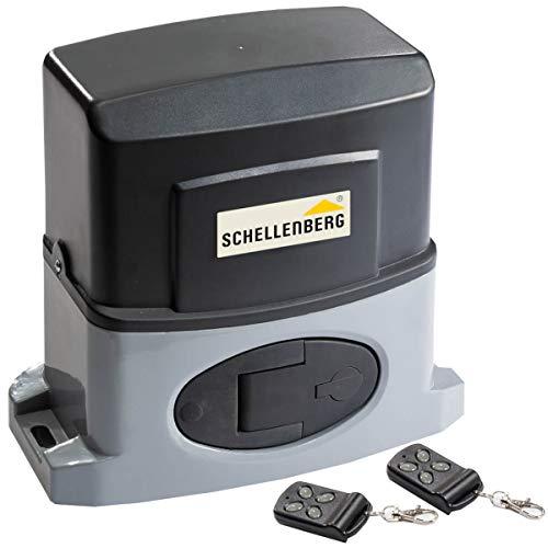 Schellenberg 60804 Elektrischer Schiebetorantrieb Slide 400, für Tore bis 4 m Breite, max. 400 kg, inkl. 2 Handsendern, praktische Fußgänger Funktion, bodengeführte 4,0
