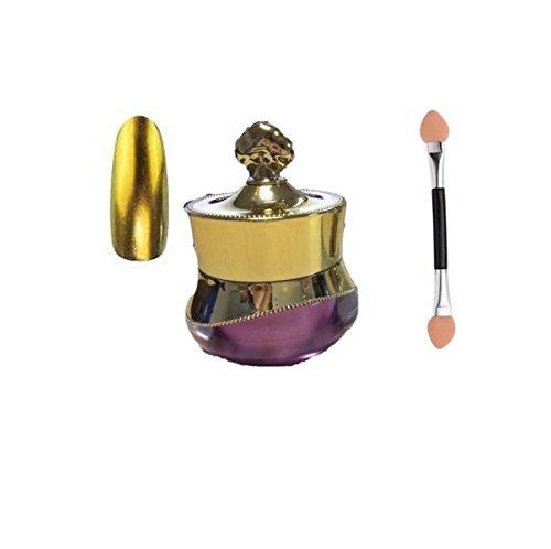 Chrome Poudre pour ongles effet miroir Nail Art Poudre avec gratuit Brosse éponge Doré 6 G