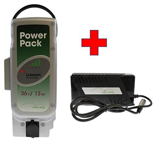 Akkuman.de Set E-Bike Vision Power Pack Ersatzakku für Panasonic Antriebsystem 36V 13Ah 468 Wh + 4A Ladegerät