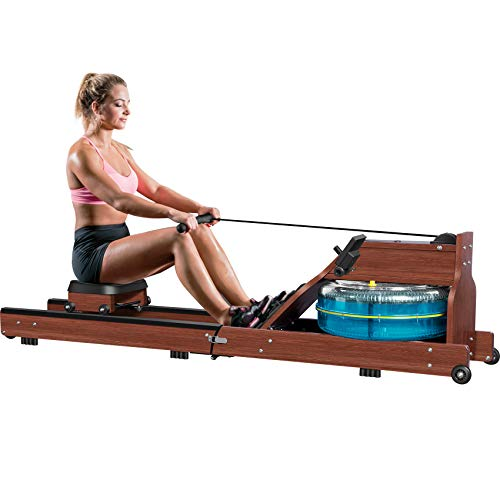 Water Rowing Machine, TopMade Oak Wood Water Adjustable Resistance Rower for Home Gym Workout Foldable Indoor Exercise Water Row Machine Fitness Equipment Bluetooth LCD Monitor Wooden Rower Machine