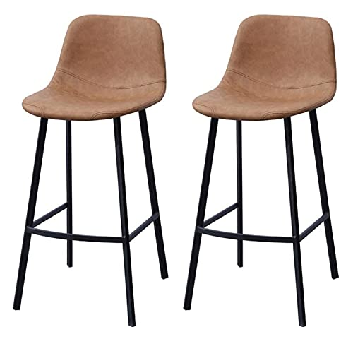 WENJIA PU Leather Bar Stools Set of 2 Barstools with Back and Footrest Bar Height Faux Leather Stool Chairs for Kitchen Home Office Pub 0924 (Color : Light Brown, Size : Bar Stools Set of 2)