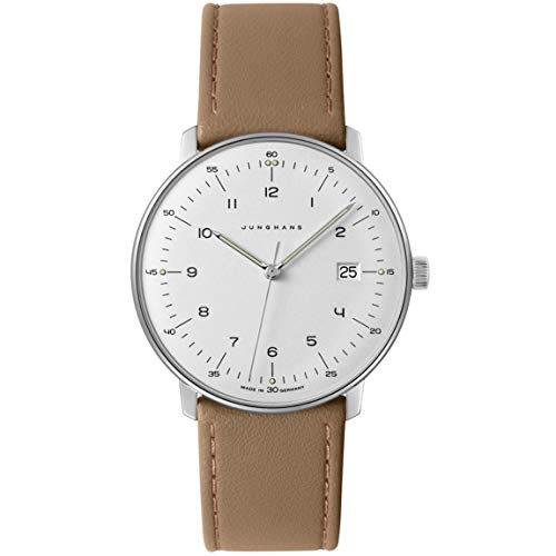 Junghans Men's Max Bill Stainless Steel Quartz Watch with Leather Calfskin Strap, Beige, 20 (Model: 041/4562.04)