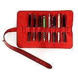 Londo Estuche Enrollable de Piel Genuina para Lápices y Bolígrafos (Rojo) (OTTO395)