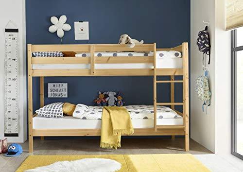 Jugendmöbel24.de Etagenbett Alain Kiefer massiv EN 747-1 + 747-2 FSC-Zertifiziert teilbar zu Einzelbetten Kinderzimmer Hochbett Kinderbett Stockbett Doppelbett