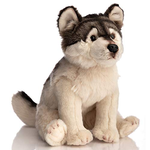 HollyHOME Plush Wolf Stuffed Animal Wild Aniaml Realistic Wolf Plush Toy Gift for Kids 14 Inch