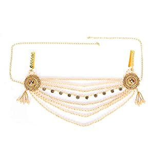 Archi Collection Traditional Fashion Jewellery Gold-Plated Kundan Crystal Pearl Tassel Kamarband Waist Chain for Women