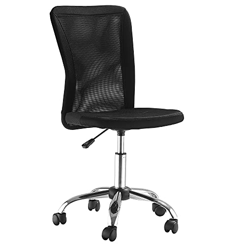 Vinsetto Home Office Mesh Task Chair Ergonomic Armless Mid Back Height Adjustable with Swivel Wheels, Black
