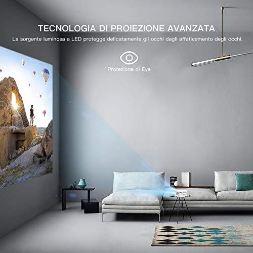 Proiettore APEMAN 3500 Lumen Mini Videoproiettore Portatile con Doppio Altoparlante del LED fino a 50000 Ore, Cinema Domestico Compatibile con 1080P HDMI/USB/VGA/Micro SD Supporto Android IOS TV Box
