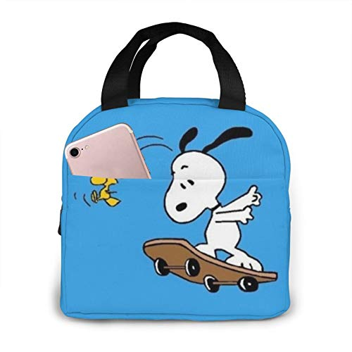 Lunch Bag Snoopy Skateboard Cool Mouth Guard With Filter Insulated Durable Lunch Box Tote Bag Cooler Bag for Work School Picnic Travel Beach