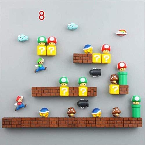 ZP-MIN Imanes de nevera Super Marios Siuts Green Mario Magn, ladrillos, balas, buzón de correo, juguetes para niños cumpleaños decoración del hogar, traje 6-Suit 8