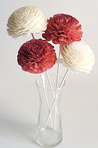 plawanature Lot de 4 Rouge Couleur Blanc 7,6 cm Jasmin Sola en Bois Fleur avec diffuseur pour la maison Huile parfum parfum.