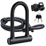 UBULLOX Bike U Lock Heavy Duty Bike Lock Bicycle U Lock, 16mm Shackle and 4ft Length Security Cable with...