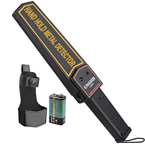 UNIROI Detector de Escáner de Metal Portátil con Batería de 9V y Funda de Cinturón, Sensibilidad Ajustable, Detector de Metales de Mano para Inspección de Seguridad (UD001)
