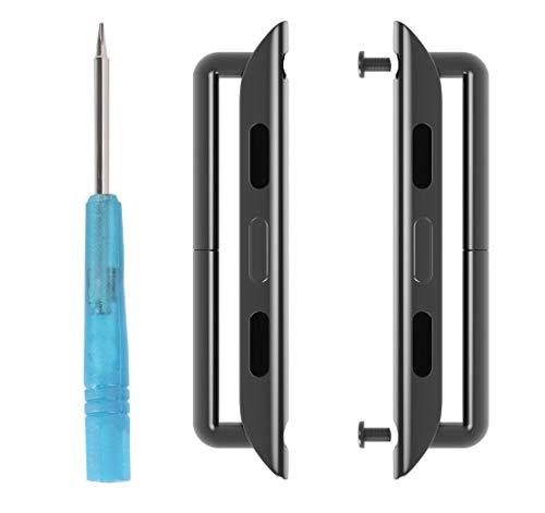AX-44-Schwarz Armband Adapter für Appl Watch Passend für 44 mm Series 5/4/3/2/1 (AX-44mm, Schwarz)