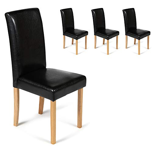 Set of 4 Faux Leather Torino Dining Chairs Black With Padded Seat & Oak Finish Legs