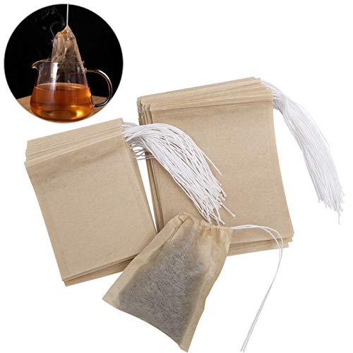 ounona 200pcs Sacs de te jetables sacs de filtre à thé de feuilles prise de la poussière (9 * 7 cm et 7 * 5.5 cm)