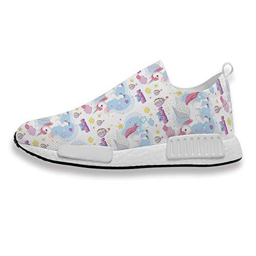 Zapatillas deportivas para hombre y mujer, diseño de unicornio, con superficie de malla cómoda y transpirable, adecuadas para caminar, trotar, color, talla 39 1/3 EU