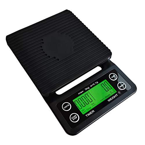 FREELX Básculas Electrónicas de Cocina con Temporizador y Función de Pelado, Básculas Electrónicas Multifunción para Alimentos de 3 kg / 0,1 g, con Pantalla LCD Retroiluminada