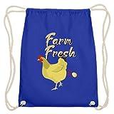 generisch Farm Fresh – Ei viene de la gallina disparada – Algodón Gymsac, color Azul real, tamaño 37cm-46cm