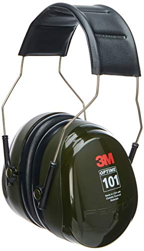 3M - CASH7A Peltor Optime 101 Over-the-Head Earmuff, Hearing Protection, Ear Protectors, NRR 27dB Green