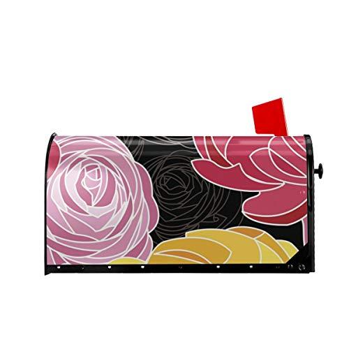 Sunny R Willkommen Mailbox Umfasst Rosa und Gelbe Ranunkel Auf Schwarzem Hintergrund Magnetisch Verpackt Briefkasten Briefkasten Abdeckung für Garten Yard Dekor 21x18 Zoll