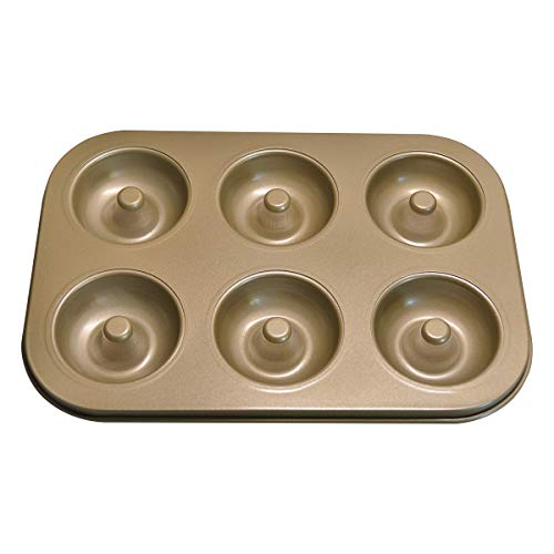 Donut Baking Pans, Nonstick 6 Cavity Doughnut Pan , Carbon Steel Donut Mold and Mini Bagel Pan for Baking -Gold