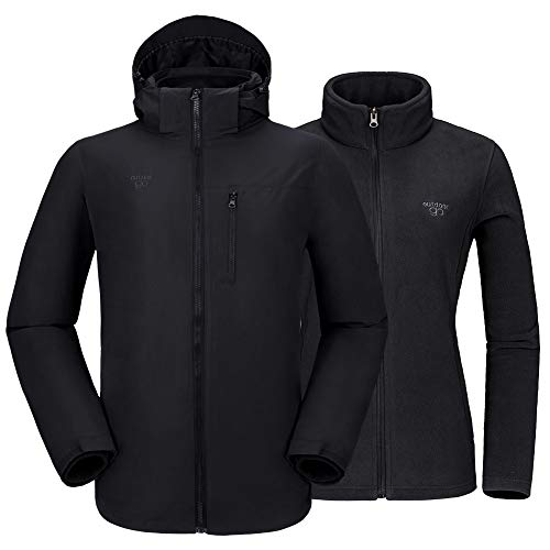 Men's Mountain Snow Waterproof 3-in-1 Ski Jacket Detachable Hood Windproof Fleece Parka Rain Jacket Winter Coat Black Large