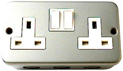 Bulk Hardware BH02774 stopcontact met schakelaar 13 ampère 2-voudig, metalen bekleding wit