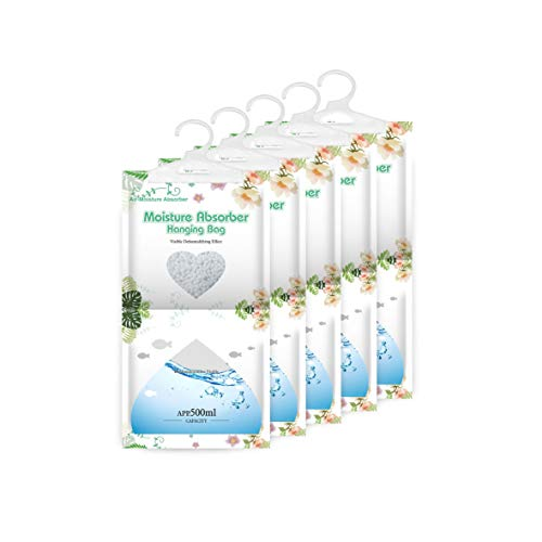 CANAGER Air-Moisture Absorber Packets, Hanging Dehumidifier Bags for Closet,Bedroom and Kitchen,Fragrance Free-5 Packs,Moisture Absorb 12.5OZ