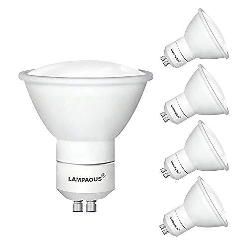 LAMPAOUS LED GU10 5W Lampe 50W Halogenlampe ersetzt, GU10 LED Spot Strahler Birnen Warmweiß 120°Abstrahlwinkel, 4er Pack