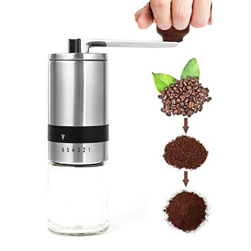 Opaltool Ręczny młynek do kawy, młynek ręczny do kawy ze stali nierdzewnej, ceramiczny stożkowy młynek do zadziorów, ręczny ekspres do kawy z 6 regulowanymi rozmiarami mielenia do biura, na kemping, w podróż, prezenty domowe