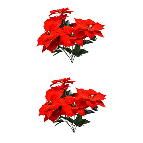 LIOOBO 2 Piezas de simulación Poinsettia Rojo arbustos de Navidad Flores Artificiales Ramos de árbol de Navidad Adornos de Navidad Pieza Central para Home Office Decor (Rojo) Decoración navideña