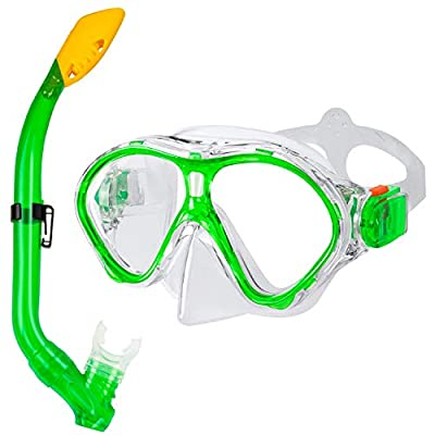 Gintenco Kids Snorkel Set, Dry Top Snorkel Mask Anti-Leak for Youth Junior Child, Anti-Fog Snorkeling Gear Free Breathing,Tempered Glass Swimming Diving Scuba Goggles 180° Panoramic View(Green)